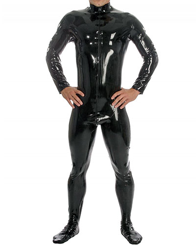 Glued Latex Catsuit with Feet and 2 Way Zipper