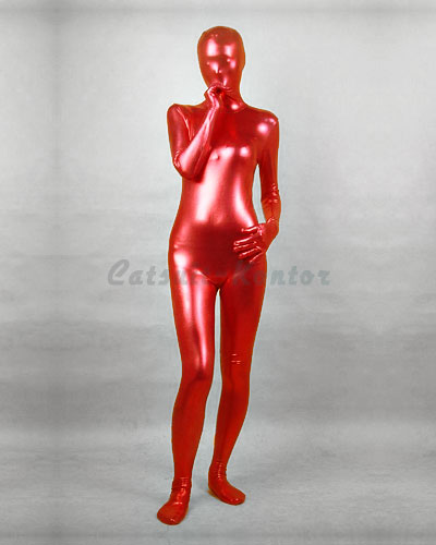 Red Shiny Metallic Zenshin Tights Suit