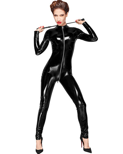 Decadence Black Gloss PVC Catsuit with 3-Way Zipper