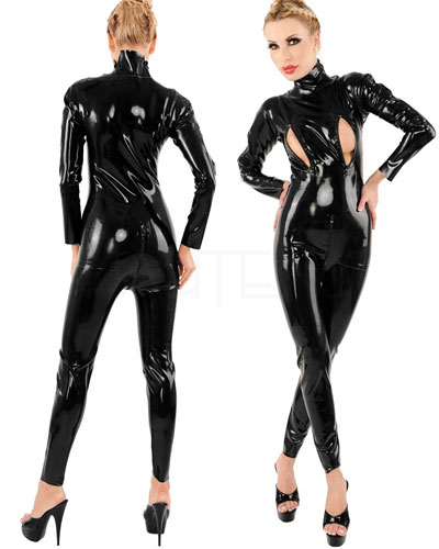Moulded and Glued Latex Catsuit with Breast Zippers