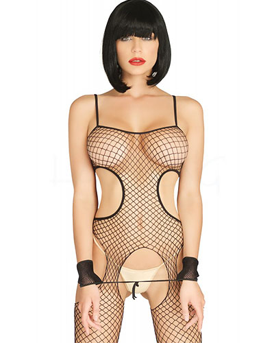 Industrial Net Cut Out Suspender Catsuit with Wrist Cuffs
